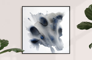 Abstract painting on canvas, fluid painting, acrylic paint, black, grey, white, blue, 36x36