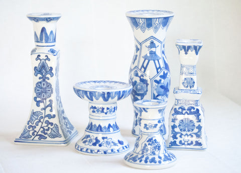 Blue and White Ceramic Candlestick Collection