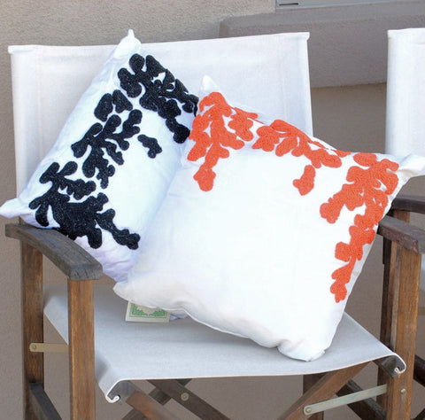 Beachy Beeded Throw Pillows In Two Styles