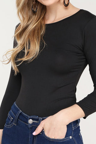 Black 3/4 Sleeve Bodysuit