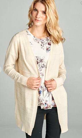 Oatmeal Long Ribbed Cardigan
