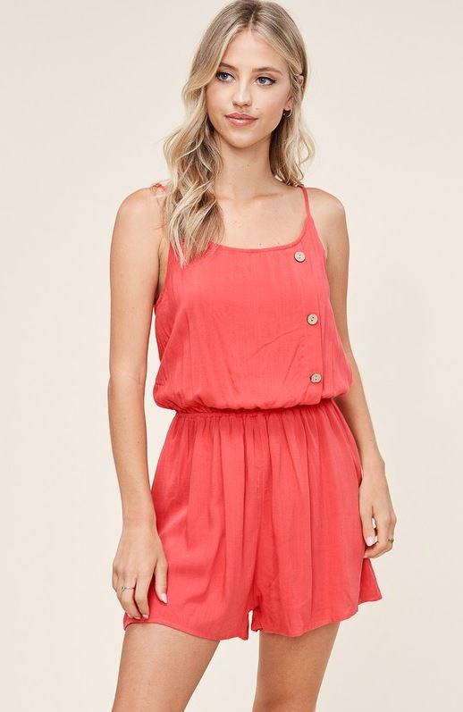 Red Strappy Romper