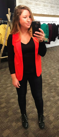 Red Orange Sleeveless Blazer