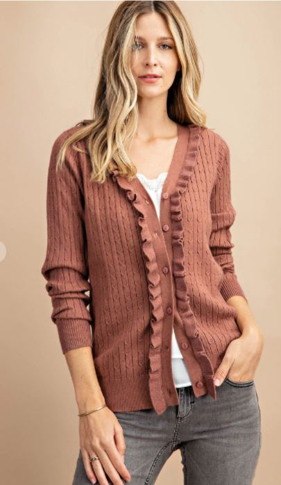 Rose  Ruffle Cardigan
