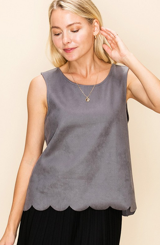 Silver Scallop Detail Top