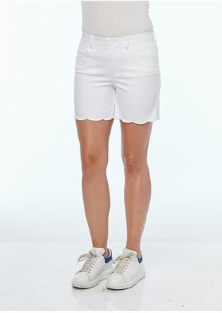 White Scalloped Shorts