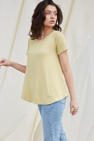 Bamboo Round Neck Tee Lemon Drop