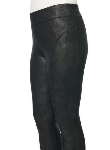 Black Cracked Leather Legging