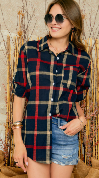 Navy/Red Plaid Button Up