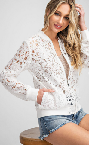 White Lace Bomber