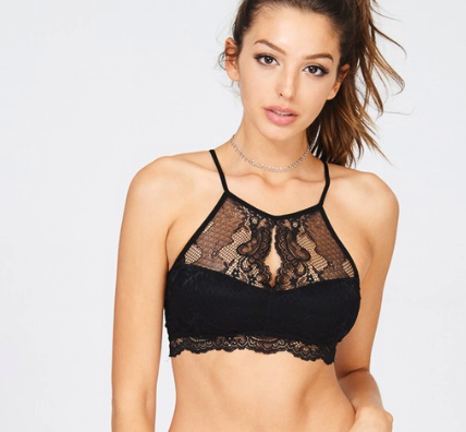 Black High Neck Bralette