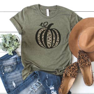 Fall Graphic Shirt- Leopard Pumpkin- Heather Olive