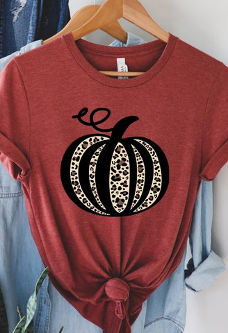 Leopard Pumpkin Graphic Tee- Heather Clay