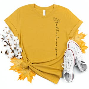 Fall Trendy Modern Graphic Shirt- Fall I love you (vertical) -  Mustard (as pictured)