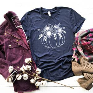 Fall Graphic Shirt- Pumpkin with Bouquet - Navy (as pictured)