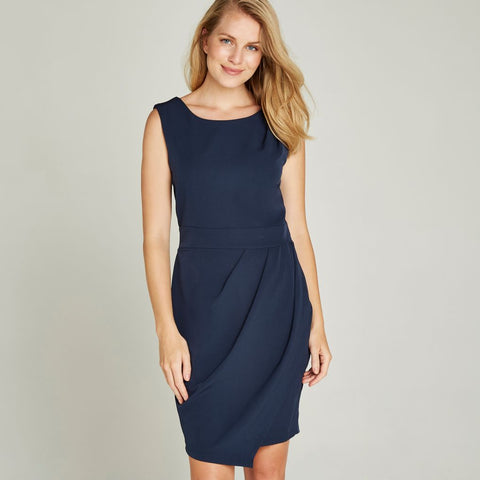 Navy Pleat Dress