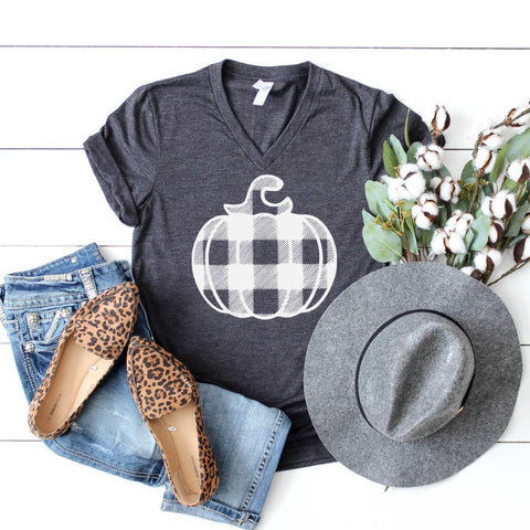 Fall Graphic V Neck- White Plaid Pumpkin  Heather Clay