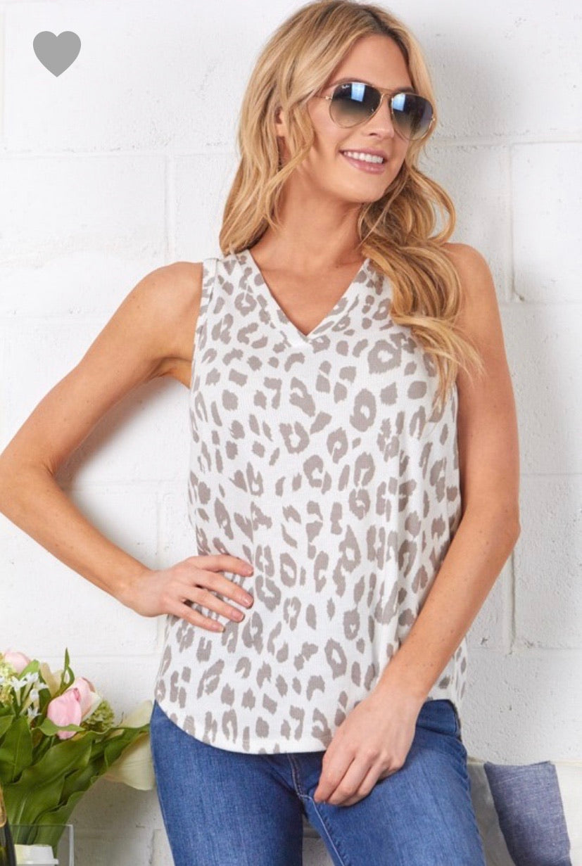 Ivory/Taupe Leopard Tank