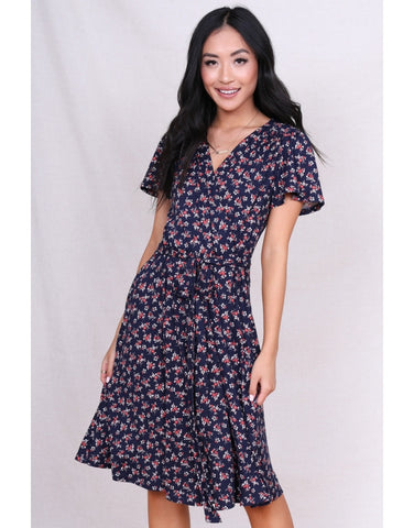 Janae Navy Poppy Dress