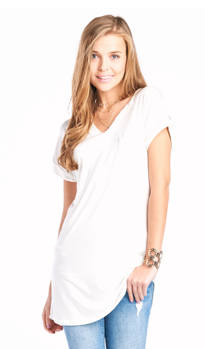 Ivory Split Neck Line Tunic