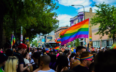 Crowd of people with a Pride Rainbow Flag standing out
