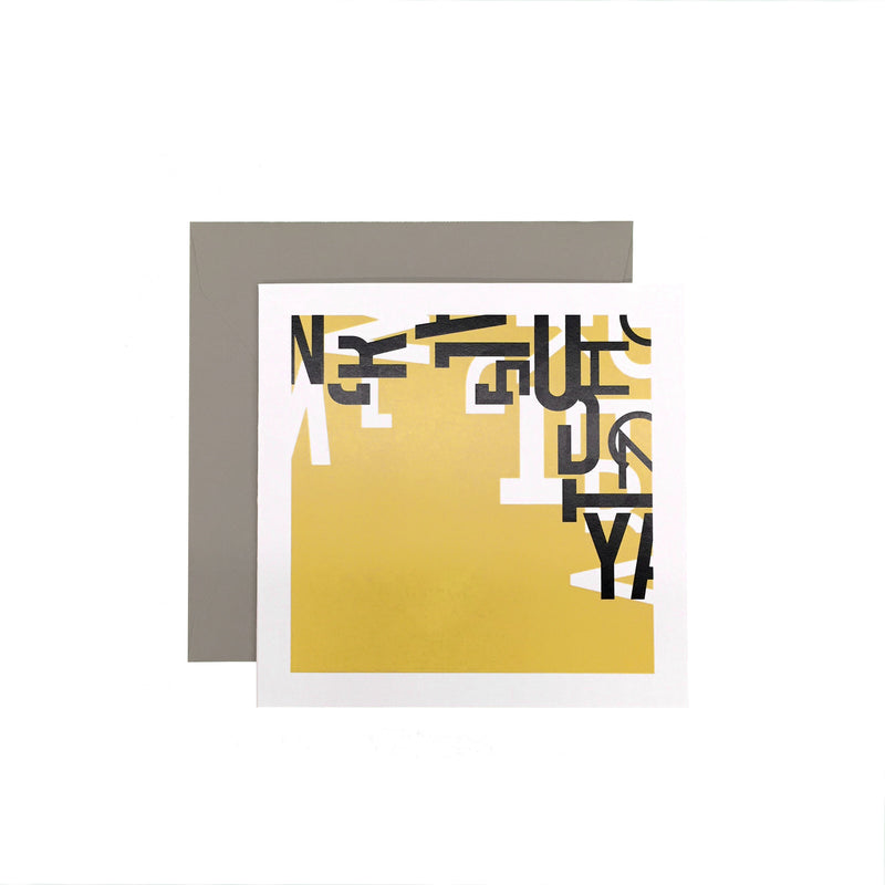 Experimental Typography Greeting Card - YA Yellow