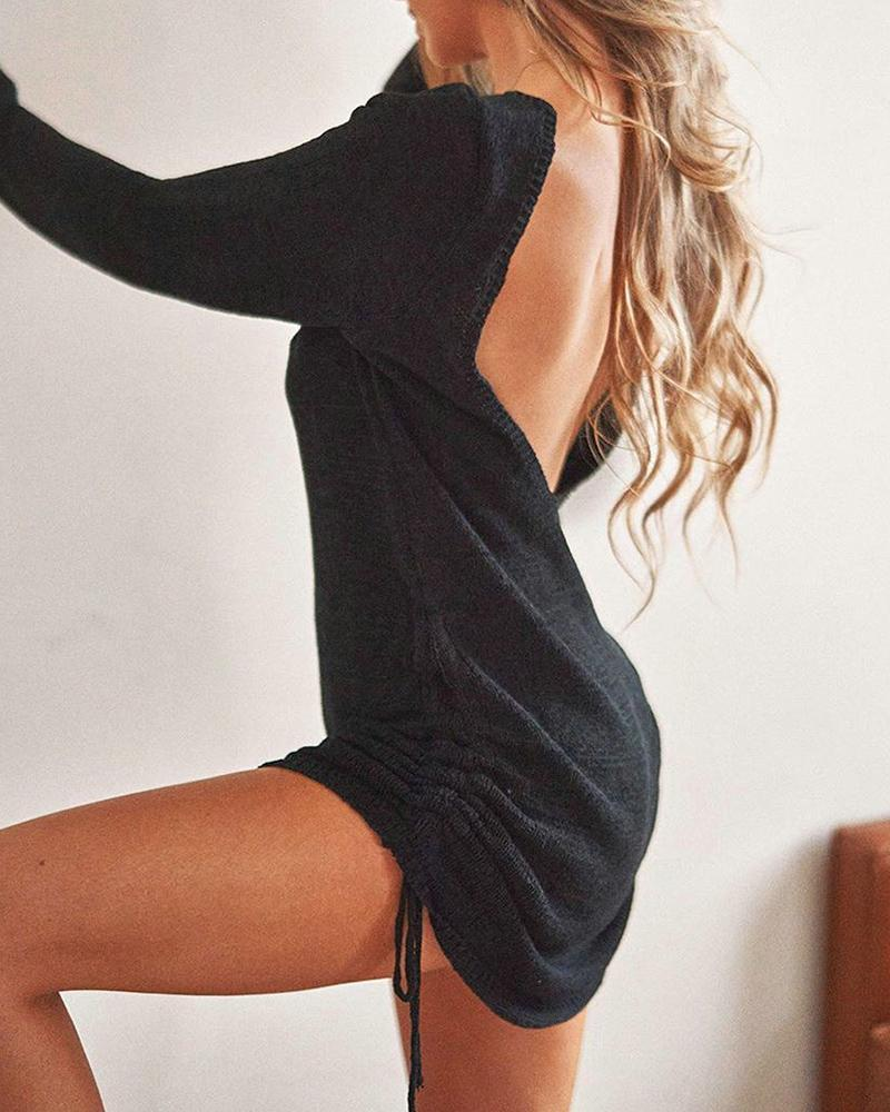 Drawstring Ruched Backless Dress