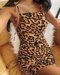 Leopard Multicolor Strappy Bodycon Dress
