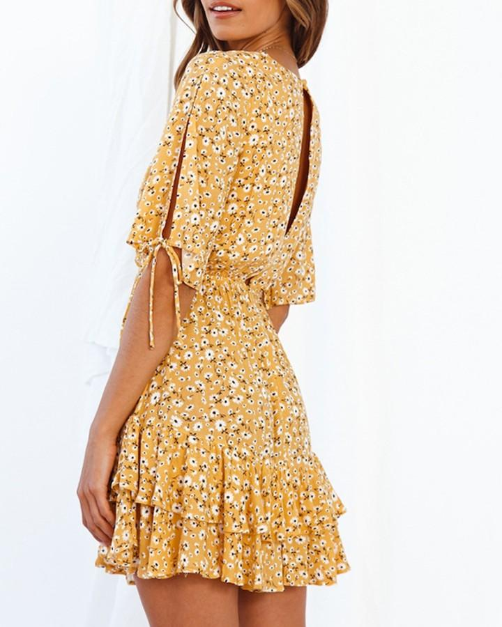 Floral Half Sleeve Loose Ruffles Dress