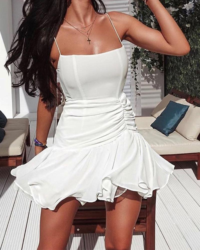 Solid Color Mesh Spaghetti Strap Ruched Ruffle Hem Mini Dress