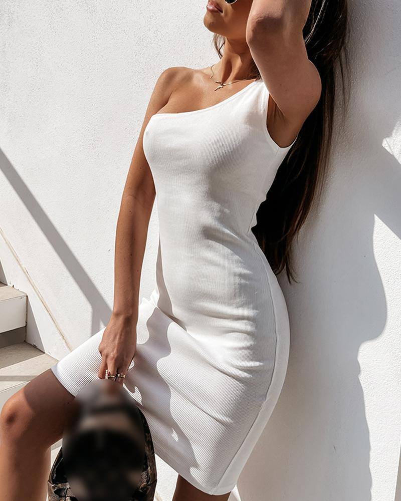Solid Skinny Ribbed One Shoulder Bodycon Mini Dress