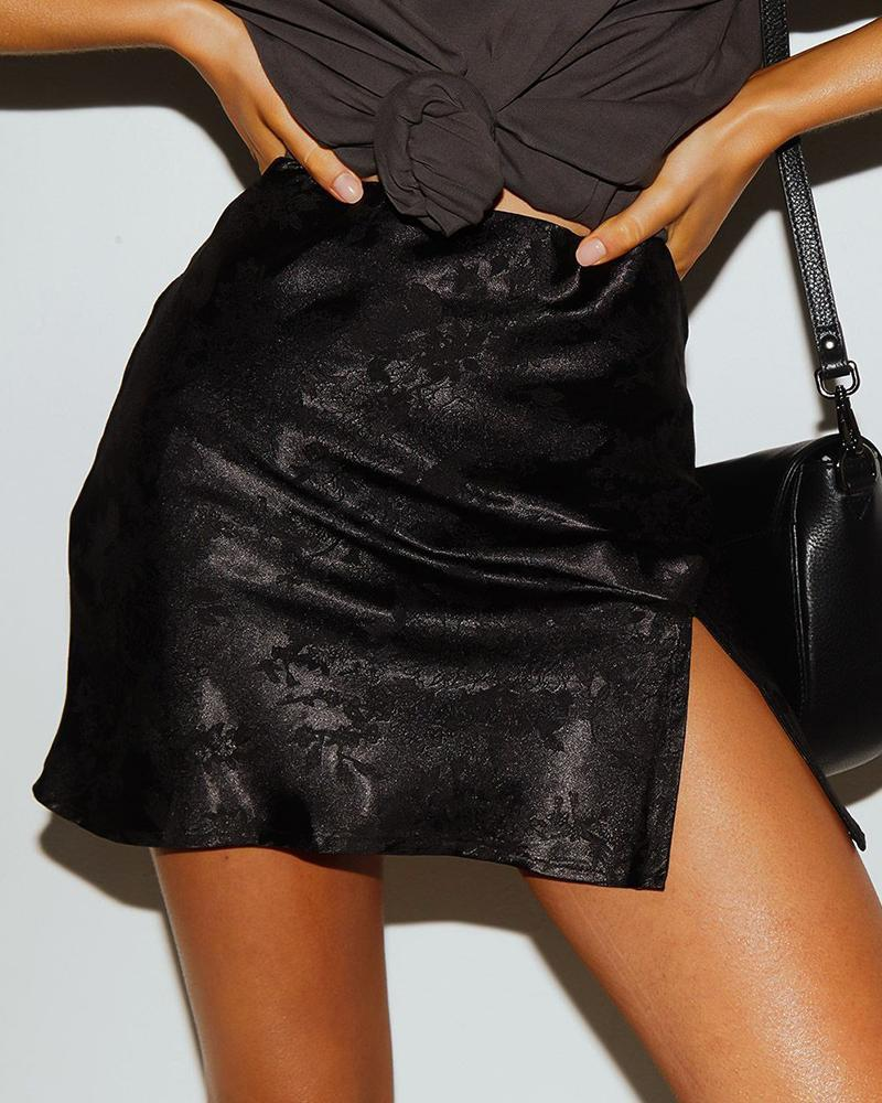 Satin High-waist Split Mini Skirt