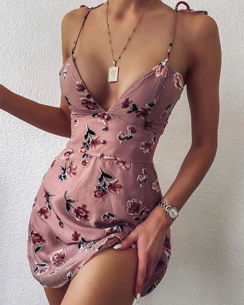 V-neck Spaghetti Strap Floral Print Dress
