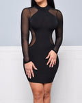 Solid Mesh Contrast Long Sleeve Skinny Wrap Bodycon Mini Dress