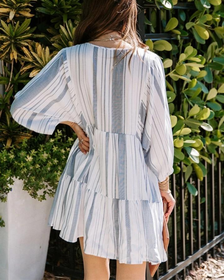 Striped Long Sleeve Layered Mini Dress