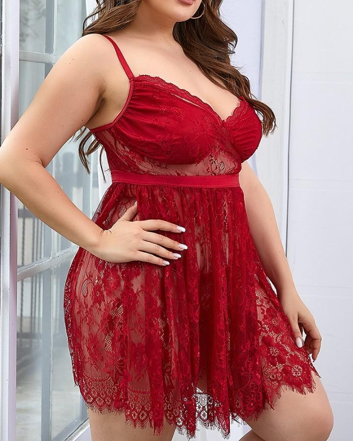 Plus Size Eyelash Lace Sheer Mesh Babydoll With Thong