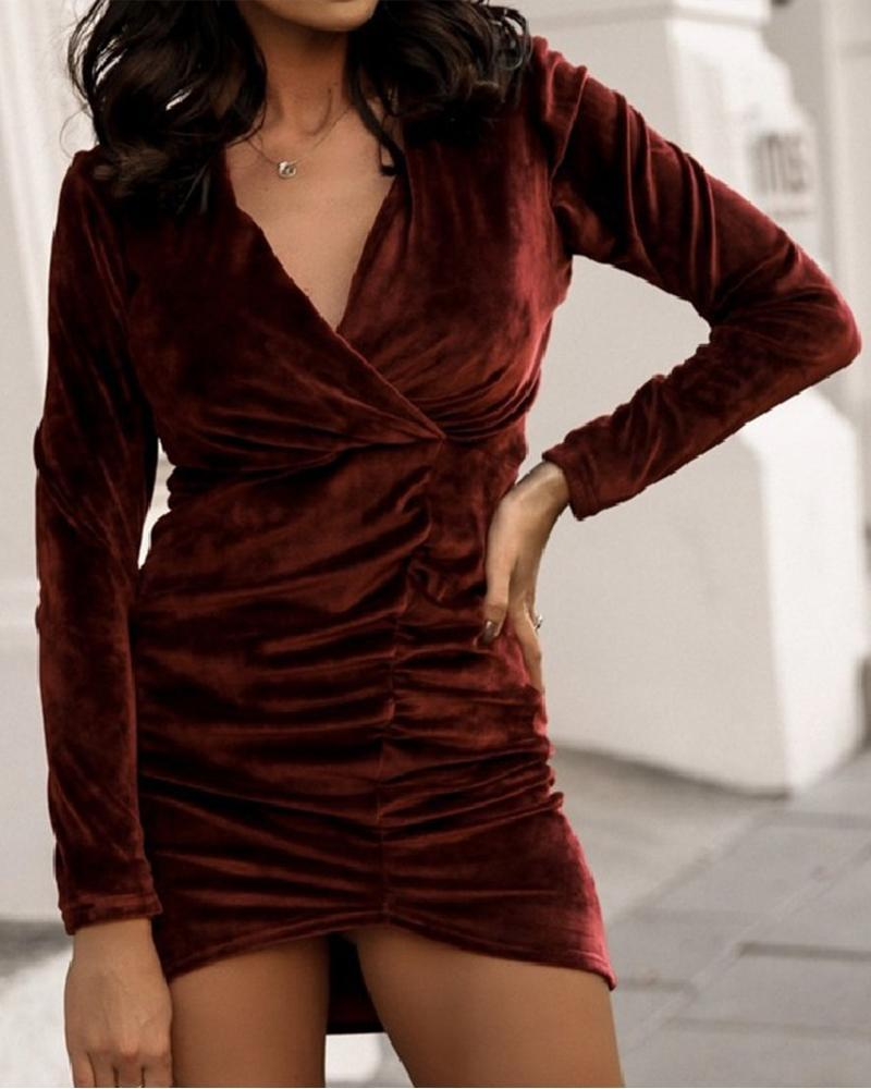 Solid Long Sleeve Skinny Mini Dress