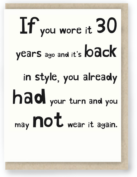 176 - IF YOU WORE IT 30 YEARS AGO