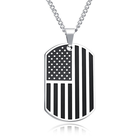 AZIZBEKKAOUI Engrave ID Pendant Necklace American Flag USA Patriot Freedom Stars and Stripes Dog Tag Stainless Steel Men Jewelry
