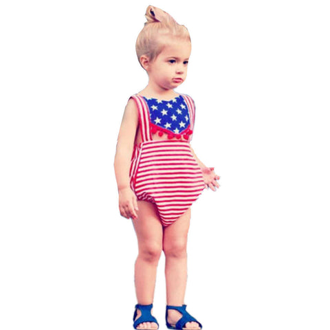 2017 Summer Newborn Baby Boy Girl Clothes USA Flag Striped Star Printed Front Hole Sleeveless Backless Halter Rompers Jumpsuit