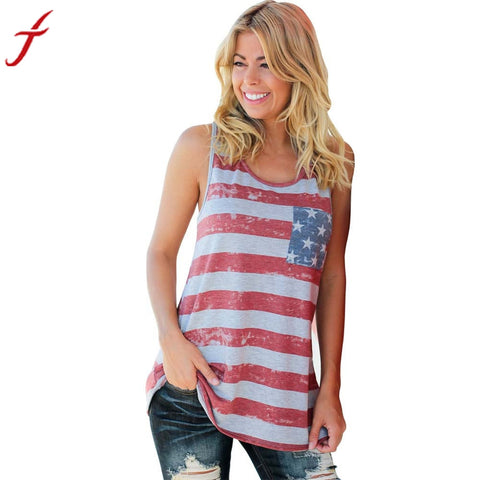 Women American Flag Stripe Tank Tops