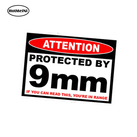 HotMeiNi 13cm x 9.75cm Car Styling Protected 9 mm Warning Sticker Pistol Gun Case Safe Ammo Box 9mm Amendment Car Sticker