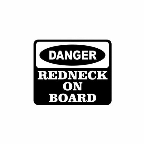QYPF 10.8CM*9CM DANGER REDNECK ON BOARD Funny Car Window Vinyl Sticker Decals Black Sliver C14-0159