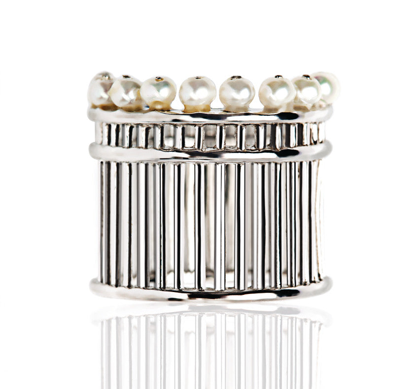 PEARL PILLAR SILVER RING