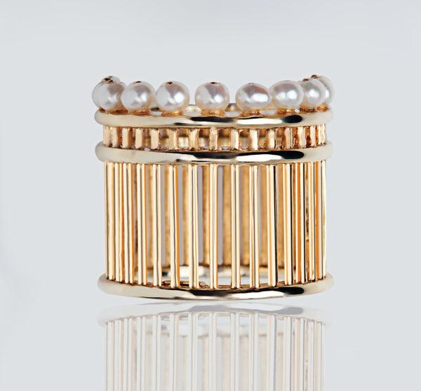 PEARL PILLAR GOLD RING