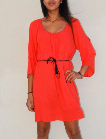 Open Shoulder Coral Dress