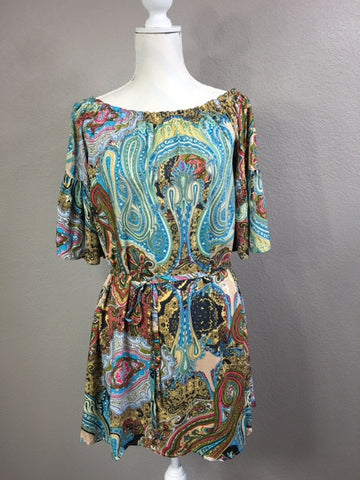 Off Shoulder Boho Print Dress/Tunic