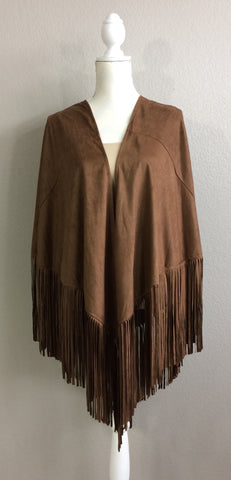 Faux Suede Kimono with Fringe