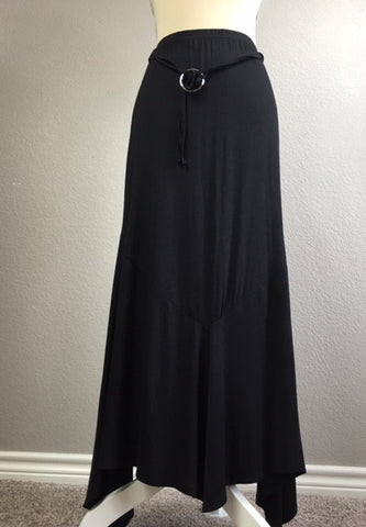 Flare Knit Black Maxi Belted Skirt