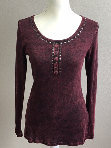 Wine-colored Ribbed Long Sleeve Tee with a Lace Back